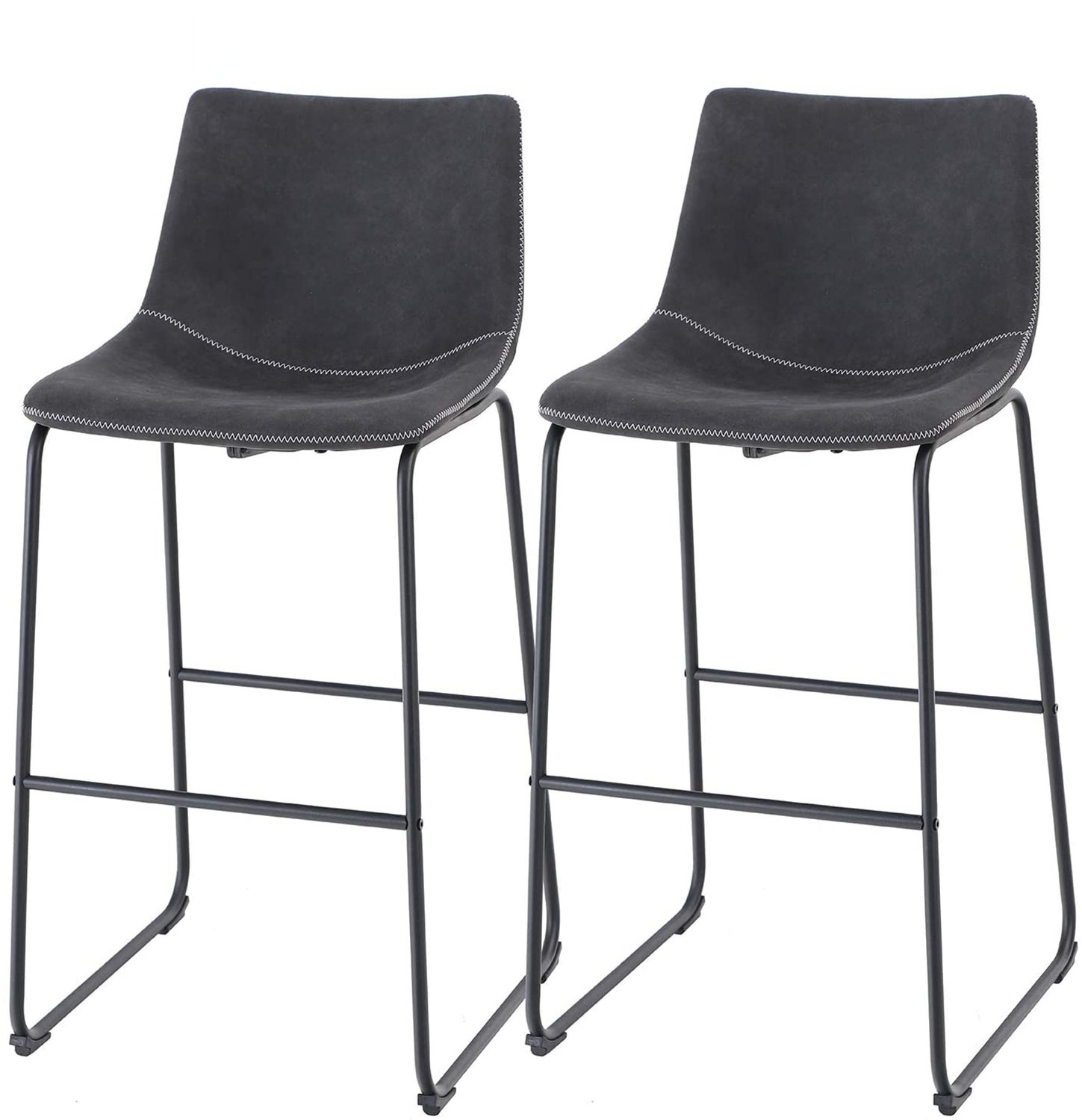 """ALPHA HOME Vintage Leathaire Counter Height Bar Stools, 30"""" Black"""