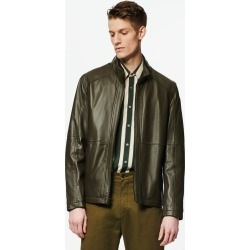 Andrew Marc Men's Wiley Stand Collar Leather Jacket Andrew Marc In Military, Size L