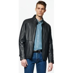 Andrew Marc Men's Wiley Stand Collar Leather Jacket Andrew Marc In Navy, Size M