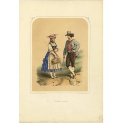 Antique Costume Print Of Switzerland By A. Lacouchie, Circa 1850