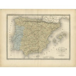 Antique Map Of Spain And Portugal By Levasseur, '1875'