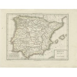 Antique Map Of Spain And Portugal By Tardieu, Circa 1795