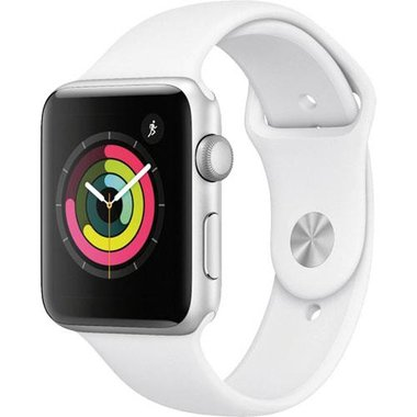 Apple MTF22LL/A Series 3 42mm Silver Aluminum Case With White Sport Band (GPS)