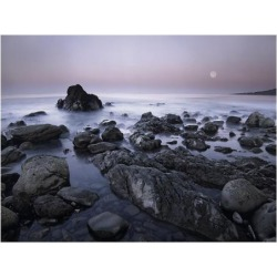 Art Print: Fitzharris' Full moon over boulders at El Pescador State Be