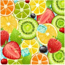 Art Print: Summer Holidays Set With Cocktail Fruits And Berries by Ozerina Anna: 24x18in