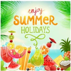 Art Print: Summer Holidays Set With Cocktails, Palms, Sun, Sky, Sea, Fruits And Berries by Ozerina Anna: 24x18in