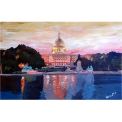 Art Print: United States Capitol in Washington DC at Sunset by Markus Bleichner: 24x16in
