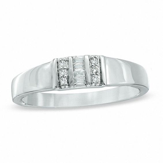 Baguette and Round Diamond Accent Ring in 10K White Gold