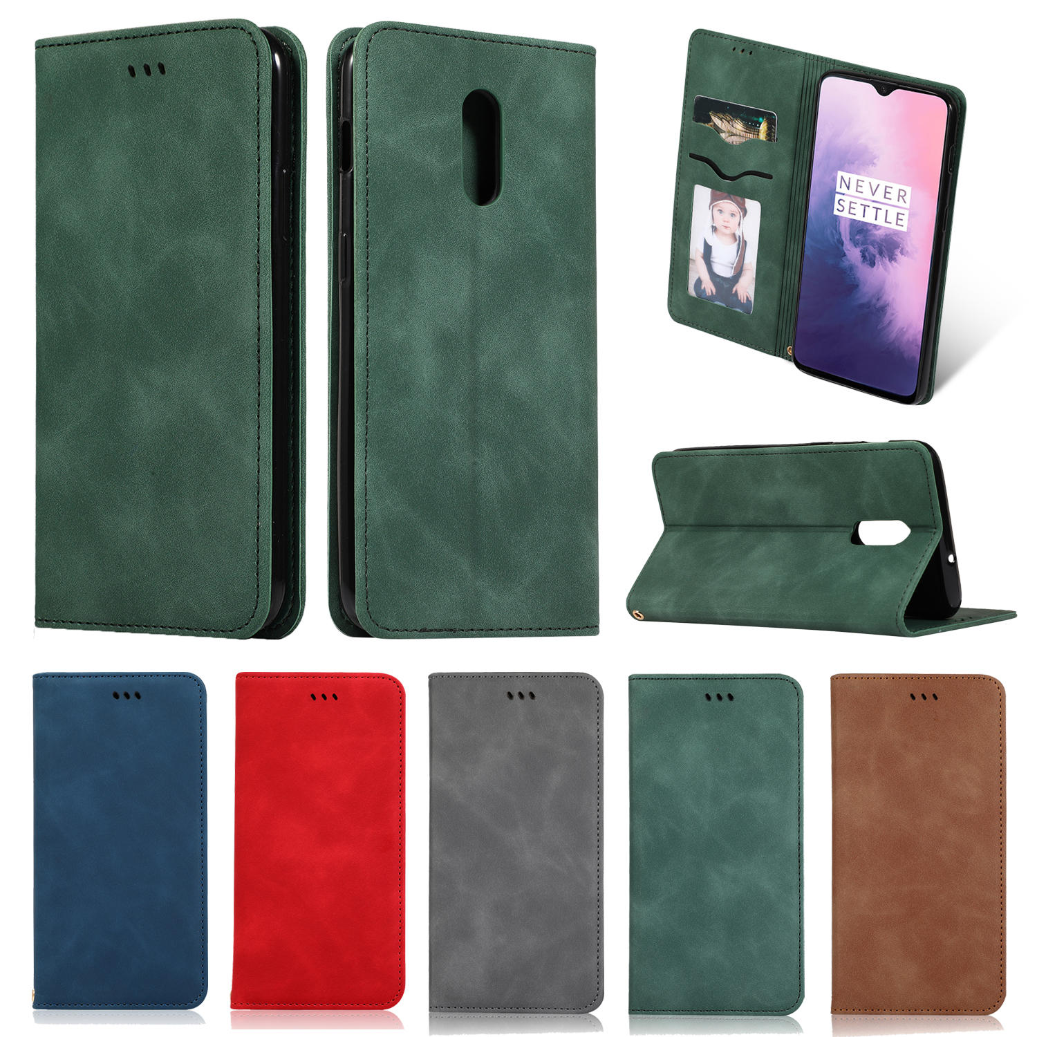 Bakeey Flip Shockproof Card Slot With Magnetic PU Leather Full Body Protective Case For OnePlus 7