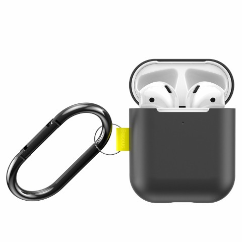 BASEUS Let's Go Silicone Case for Apple AirPods with Charging Case (2019)/(2016)/Wireless Charging Case (2019) - Black