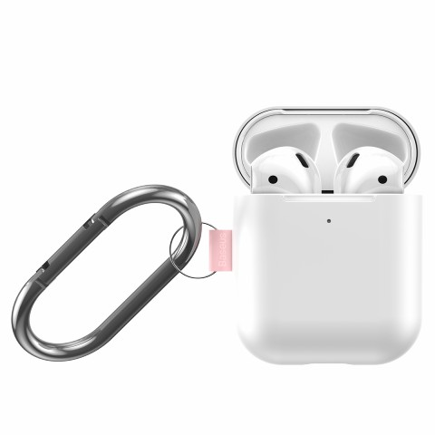 BASEUS Let's Go Silicone Case for Apple AirPods with Charging Case (2019)/(2016)/Wireless Charging Case (2019) - White