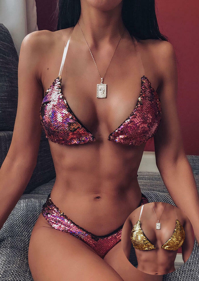 Bikini Sets Color Changing Reversible Sequined Bikini Set without Necklace (Purple - Gold) in Purple. Size: S,M,L