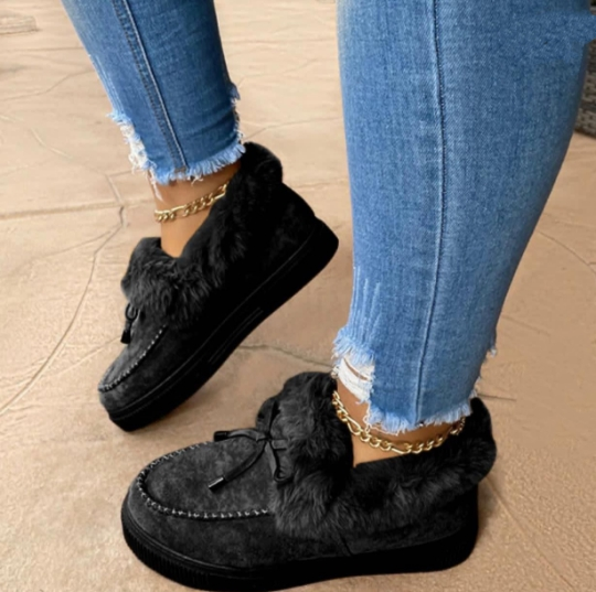 Black Casual Round Keep Warm Shoes