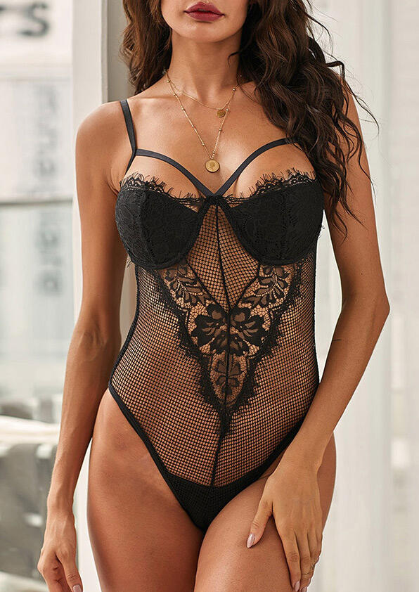 Black Lace Floral Mesh Sheer See-Through Teddy Bodysuit Lingerie in Black. Size: S,M,L
