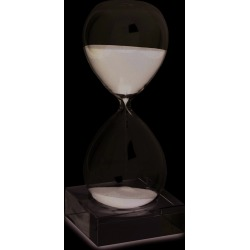 Black Sand Hand-blown Glass 30-Minute Hourglass with Stand