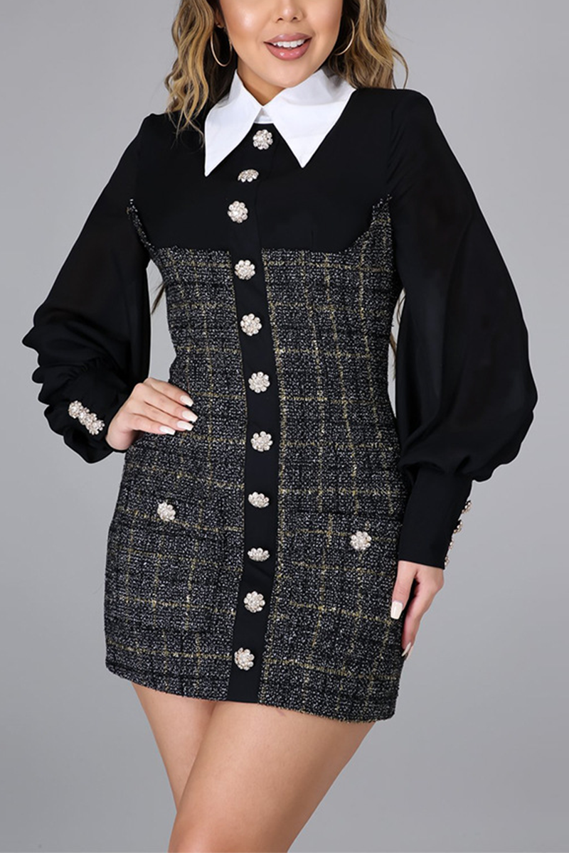 Black Sweet Patchwork Buttons Turndown Collar A Line Dresses