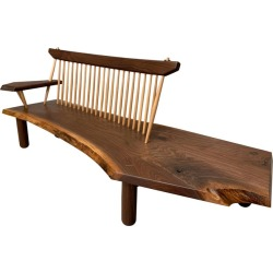 Black Walnut Live Edge Spindle Back Entry Bench, In Stock