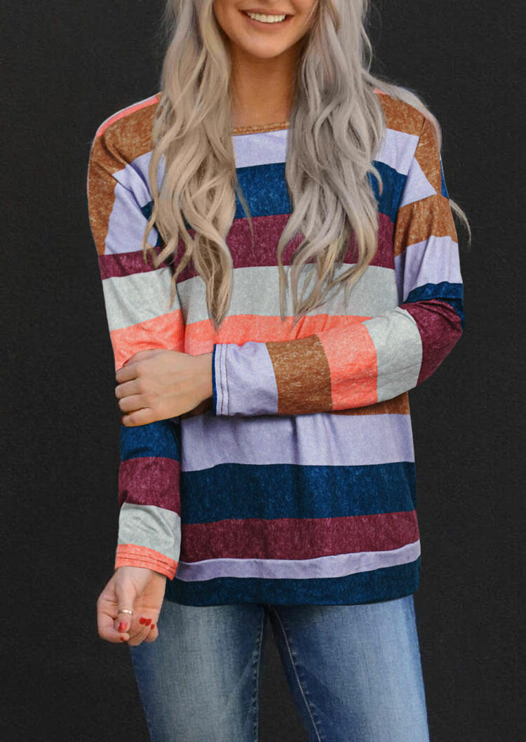 Blouses Striped Long Sleeve O-Neck Blouse in Multicolor. Size: S,M,L,XL