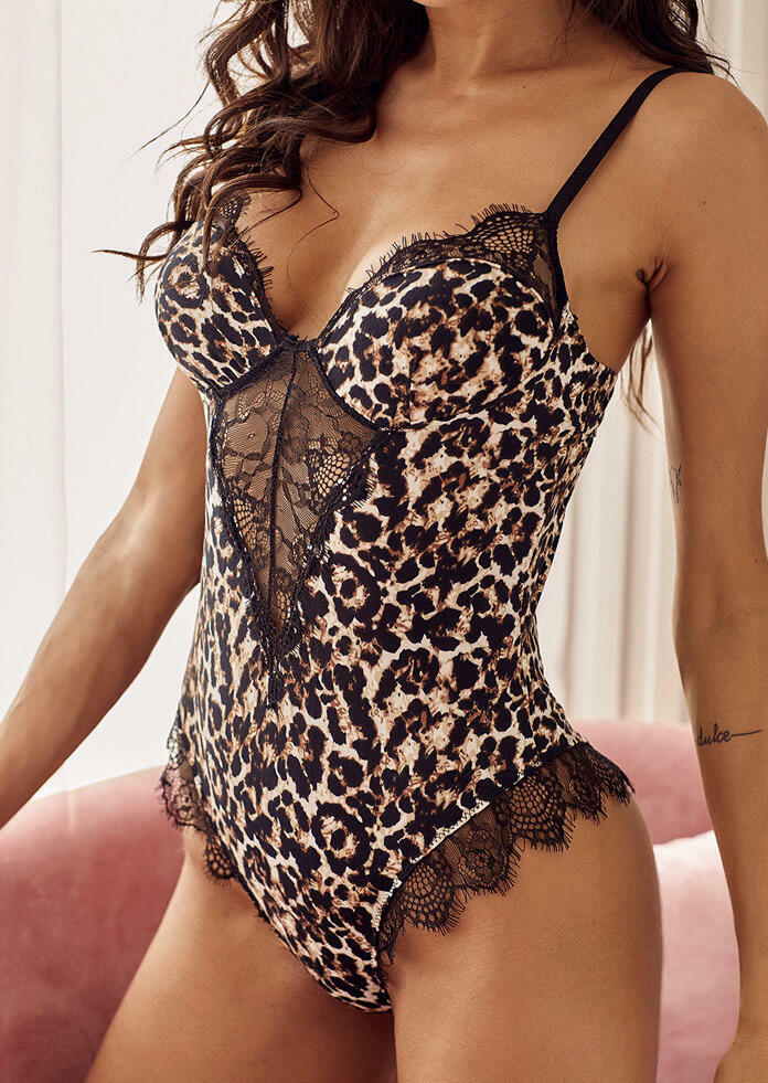 Brown Leopard Print Lace Strappy Teddy Hollow Out Teddy Lingerie in Leopard. Size: S,M,L