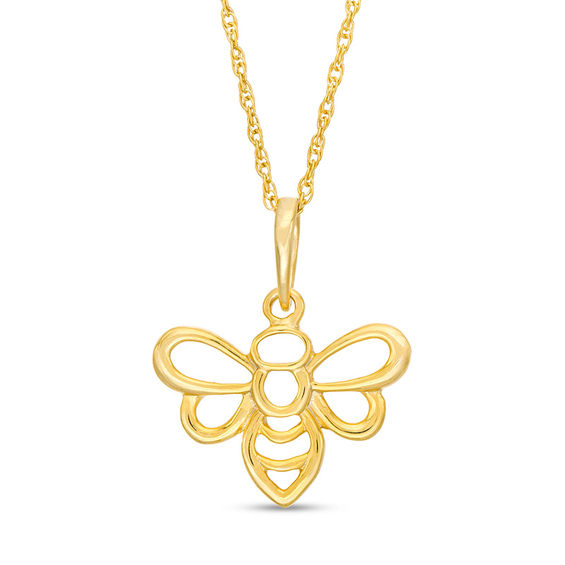 Bumble Bee Outline Pendant in 10K Gold