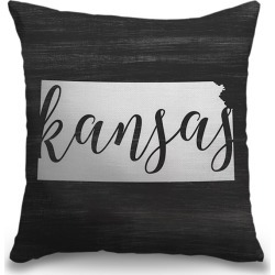 Canvas on Demand Indoor Burlap Throw Pillow 16 x 16 entitled Home State Typography - Kansas