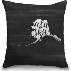 Canvas on Demand Indoor Burlap Throw Pillow 16 x 16 entitled Home State Typography - Alaska