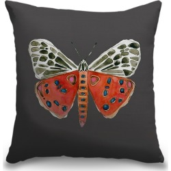 Canvas on Demand Indoor Burlap Throw Pillow 16 x 16 entitled Tiger Moth - Gray