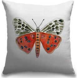 Canvas on Demand Indoor Burlap Throw Pillow 16 x 16 entitled Tiger Moth