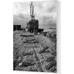 Canvas Print. Beach fishing boat, Dungeness, Kent