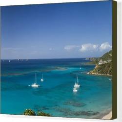 Canvas Print. British Virgin Islands, Virgin Gorda, Pond Bay, elevated view of Pond Bay and Savanah