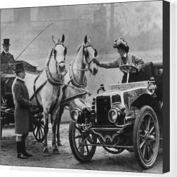 Canvas Print. Cars And Horses