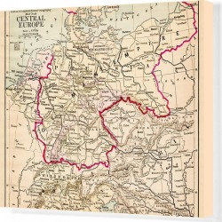 Canvas Print. Central Europe map 1881