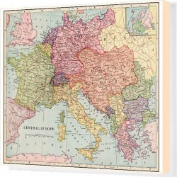 Canvas Print. Central Europe map 1892