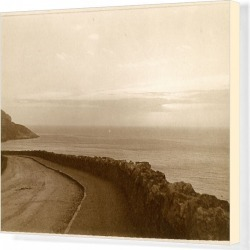 Canvas Print. Coastal view with empty road, North Wales