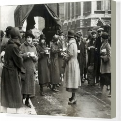 Canvas Print. Food Queues in London owing to shortages