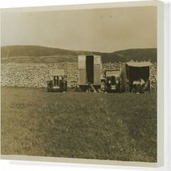 Canvas Print. Galloway and Standard 10 Vintage Cars with Caravan
