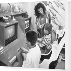 Canvas Print. Hairdressing- Jean-Jacques Henry Installs Computer Video Games in Salon - Colmar - France