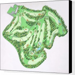 Canvas Print. Illustrated map of Augusta National Golf Course, Augusta, Georgia, USA