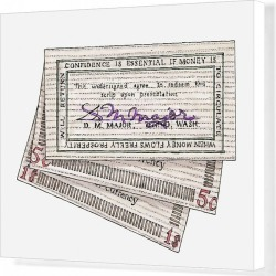 Canvas Print. Illustration of signed wooden banknotes issued in Tenino in 1932