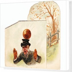 Canvas Print. Man hit by football on a greetings card
