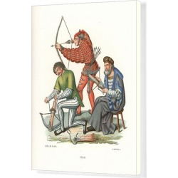 Canvas Print. Medieval archers with crossbow and long bow