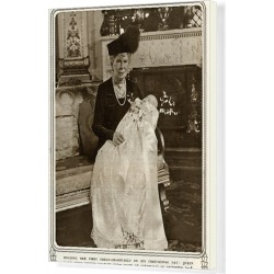 Canvas Print. Queen Mary with Prince Charles