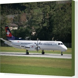 Canvas Print. SAAB 2000 of Darwin Airline to launch scheduled flights