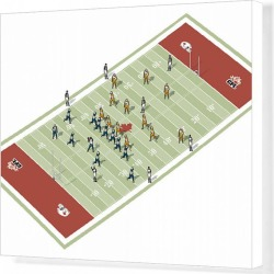 Canvas Print. Teams on Canadian football pitch