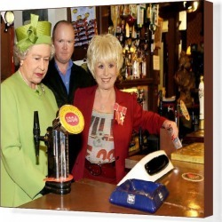 Canvas Print. The Queen Visits Eastenders Set