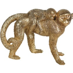 "Casa Primera Resin 6.5"" Monkey Mother With Baby -Gold"