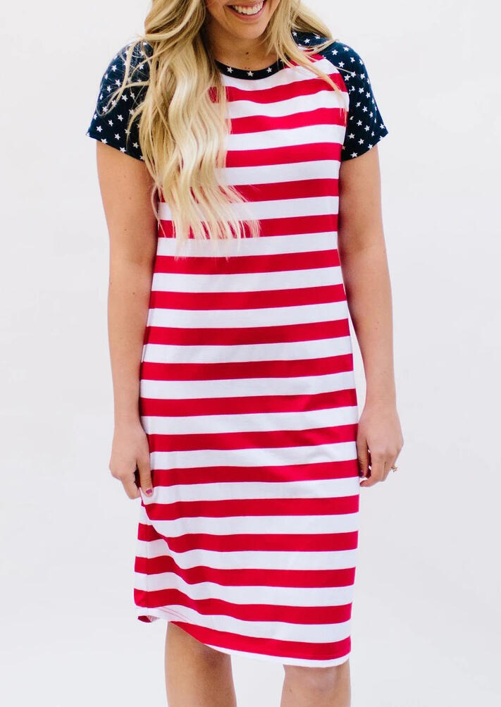 Casual Dresses American Flag Star Striped Splicing Casual Dress in Stripe. Size: S,M,L,XL