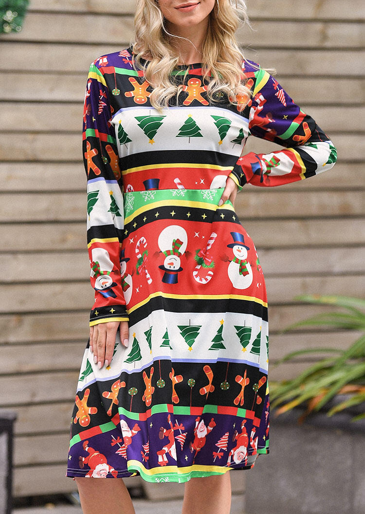 Casual Dresses Christmas Tree Snowman Casual Dress in Multicolor. Size: S,M,L,XL
