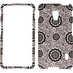 Cell Armor Snap-on Case Cover LG Optimus F6 (Simple Black Flower Pattern on Winter) - LGF6-SNAP-TE756