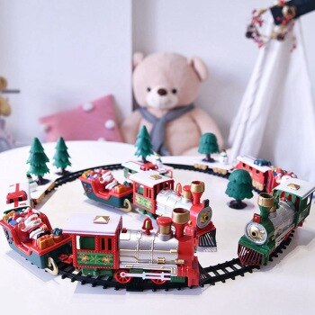 Christmas Electric Rail Car Children's Electric Toy Rail Train Santa Claus Train Toy Kids Gifts Interactive Toys Christmas Gifts
